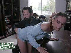 FamilyStrokes - Cute Teen Spanked And Punished By Big Dick Dad